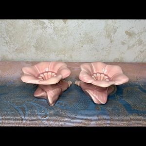 Vintage pair of ceramic pink flower candle holders